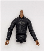 MTF Male Trooper Dress Shirt Torso (NO Legs OR Head): BLACK Version with DARK Skin Tone - 1:18 Scale Marauder Task Force Accessory
