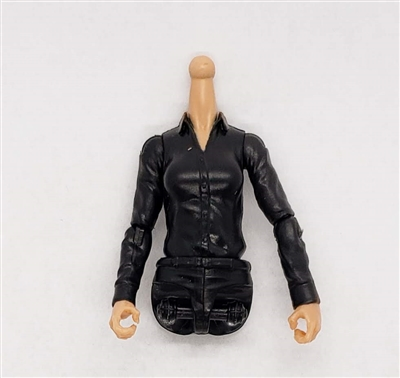 MTF Female Valkyries Dress Shirt Torso (NO Legs OR Head): BLACK Version with LIGHT Skin Tone - 1:18 Scale Marauder Task Force Accessory