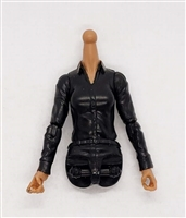 MTF Female Valkyries Dress Shirt Torso (NO Legs OR Head): BLACK Version with TAN Skin Tone - 1:18 Scale Marauder Task Force Accessory