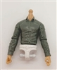 MTF Male Trooper Dress Shirt Torso (NO Legs OR Head): GRAY Version, WHITE Waist with LIGHT Skin Tone - 1:18 Scale Marauder Task Force Accessory