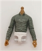 MTF Male Trooper Dress Shirt Torso (NO Legs OR Head): GRAY Version, WHITE Waist with TAN Skin Tone - 1:18 Scale Marauder Task Force Accessory