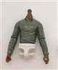 MTF Male Trooper Dress Shirt Torso (NO Legs OR Head): GRAY Version, WHITE Waist with DARK Skin Tone - 1:18 Scale Marauder Task Force Accessory