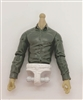 MTF Male Trooper Dress Shirt Torso (NO Legs OR Head): GRAY Version, WHITE Waist with LIGHT TAN Skin Tone - 1:18 Scale Marauder Task Force Accessory