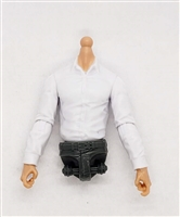 MTF Male Trooper Dress Shirt Torso (NO Legs OR Head): WHITE Version with LIGHT Skin Tone - 1:18 Scale Marauder Task Force Accessory