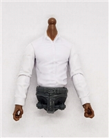 MTF Male Trooper Dress Shirt Torso (NO Legs OR Head): WHITE Version, GRAY Waist with DARK Skin Tone - 1:18 Scale Marauder Task Force Accessory