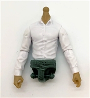 PRE-ORDER: MTF Male Trooper Dress Shirt Torso (NO Legs OR Head): WHITE Version with LIGHT TAN Skin Tone - 1:18 Scale Marauder Task Force Accessory