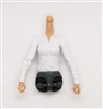 MTF Female Valkyries Dress Shirt Torso (NO Legs OR Head): WHITE Version with LIGHT Skin Tone - 1:18 Scale Marauder Task Force Accessory