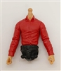 MTF Male Trooper Dress Shirt Torso (NO Legs OR Head): RED Version, BLACK Waist with LIGHT Skin Tone - 1:18 Scale Marauder Task Force Accessory