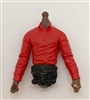 MTF Male Trooper Dress Shirt Torso (NO Legs OR Head): RED Version, BLACK Waist with DARK Skin Tone - 1:18 Scale Marauder Task Force Accessory