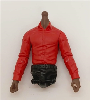 PRE-ORDER: MTF Male Trooper Dress Shirt Torso (NO Legs OR Head): RED Version with DARK Skin Tone - 1:18 Scale Marauder Task Force Accessory