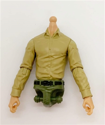 PRE-ORDER: MTF Male Trooper Dress Shirt Torso (NO Legs OR Head): TAN Version with Light Skin Tone - 1:18 Scale Marauder Task Force Accessory