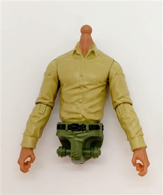 PRE-ORDER: MTF Male Trooper Dress Shirt Torso (NO Legs OR Head): TAN Version with TAN Skin Tone - 1:18 Scale Marauder Task Force Accessory