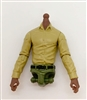 PRE-ORDER: MTF Male Trooper Dress Shirt Torso (NO Legs OR Head): TAN Version with DARK Skin Tone - 1:18 Scale Marauder Task Force Accessory