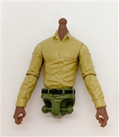 MTF Male Trooper Dress Shirt Torso (NO Legs OR Head): TAN Version, GREEN Waist with DARK Skin Tone - 1:18 Scale Marauder Task Force Accessory