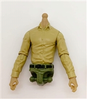 PRE-ORDER: MTF Male Trooper Dress Shirt Torso (NO Legs OR Head): TAN Version with LIGHT TAN Skin Tone - 1:18 Scale Marauder Task Force Accessory