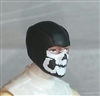 "Male Head: Balaclava BLACK Mask with White ""JAW"" Deco - 1:18 Scale MTF Accessory for 3-3/4"" Action Figures"
