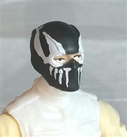"Male Head: Balaclava BLACK Mask with White ""FANG"" Deco - 1:18 Scale MTF Accessory for 3-3/4"" Action Figures"
