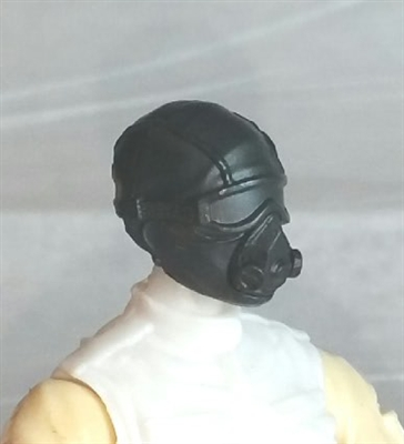 "Male Head: Mask with Goggles & Breather BLACK Version - 1:18 Scale MTF Accessory for 3-3/4"" Action Figures"