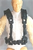 "Male Vest: Harness Rig BLACK Version - 1:18 Scale Modular MTF Accessory for 3-3/4"" Action Figures"