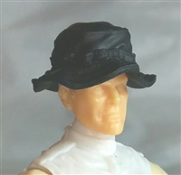 "Headgear: Boonie Hat BLACK Version - 1:18 Scale Modular MTF Accessory for 3-3/4"" Action Figures"