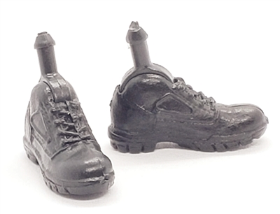 "Footwear: Pair of Black Boots with LACES (Right & Left)- 1:18 Scale MTF Accessory for 3-3/4"" Action Figures"