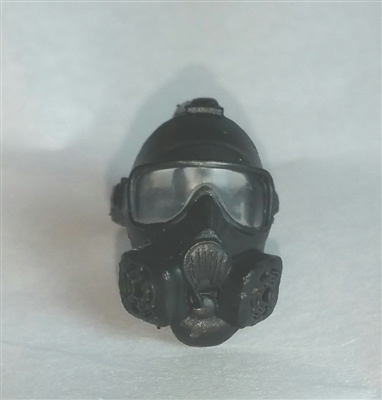 "Headgear: Gasmask BLACK Version with CLEAR Tint Lenses  - 1:18 Scale Modular MTF Accessory for 3-3/4"" Action Figures"