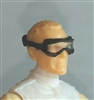 "Headgear: Standard Goggles BLACK Version with CLEAR Tint Lenses   - 1:18 Scale Modular MTF Accessory for 3-3/4"" Action Figures"