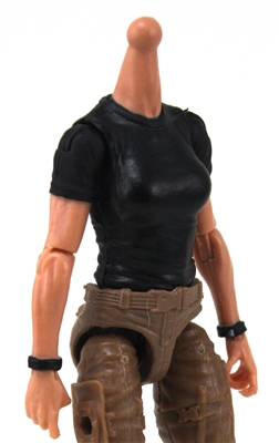 MTF Female Valkyries T-Shirt Torso ONLY (NO WAIST/LEGS): BLACK Version with LIGHT Skin Tone - 1:18 Scale Marauder Task Force Accessory