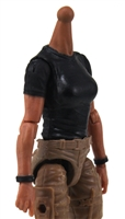 MTF Female Valkyries T-Shirt Torso ONLY (NO WAIST/LEGS): BLACK Version with TAN Skin Tone - 1:18 Scale Marauder Task Force Accessory