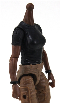 MTF Female Valkyries T-Shirt Torso ONLY (NO WAIST/LEGS): BLACK Version with DARK Skin Tone - 1:18 Scale Marauder Task Force Accessory
