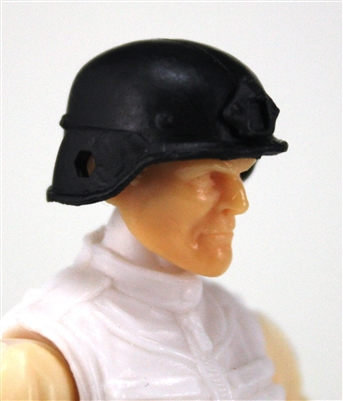 "Headgear: LWH Combat Helmet BLACK Version - 1:18 Scale Modular MTF Accessory for 3-3/4"" Action Figures"