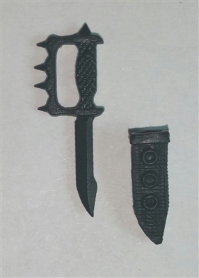 "Knuckle Knife with Sheath: Small Size BLACK Version - 1:18 Scale Modular MTF Accessory for 3-3/4"" Action Figures"