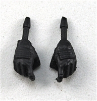 "Female Hands: Black Gloves with Black Pads - Right AND Left (Pair) - 1:18 Scale MTF Valkyries Accessory for 3-3/4"" Action Figures"