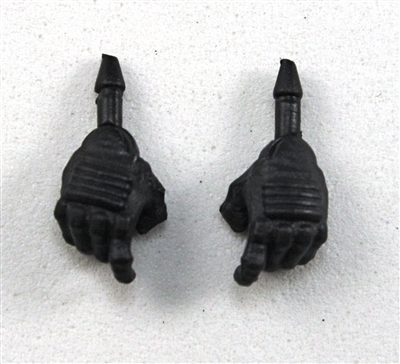 "Male Hands: Black Gloves with Black Pad - Right AND Left (Pair) - 1:18 Scale MTF Accessory for 3-3/4"" Action Figures"