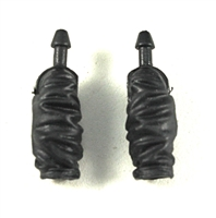 "Male Forearms: Black Cloth Forearms (NO Armor) - Right AND Left (Pair) - 1:18 Scale MTF Accessory for 3-3/4"" Action Figures"