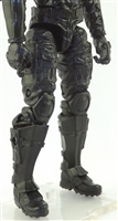 "Male Legs WITH Waist: Black Legs (WITH Armor) - Right AND Left Legs WITH Waist - 1:18 Scale MTF Accessory for 3-3/4"" Action Figures"