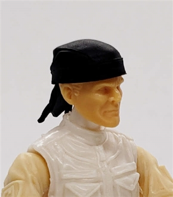 "Headgear: ""Do-Rag"" Head Cover BLACK Version - 1:18 Scale Modular MTF Accessory for 3-3/4"" Action Figures"