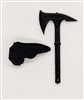 "Tactical Axe ""Tomahawk"" & Sheath: BLACK Version - 1:18 Scale Modular MTF Accessory for 3-3/4"" Action Figures"