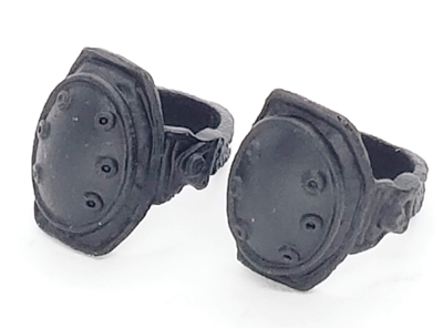 "Knee Pads with Strap BLACK Version (PAIR) - 1:18 Scale Modular MTF Accessory for 3-3/4"" Action Figures"