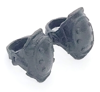 "Elbow Pads with Strap BLACK Version (PAIR) - 1:18 Scale Modular MTF Accessory for 3-3/4"" Action Figures"