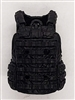 "Male Vest: Utility Type BLACK Version - 1:18 Scale Modular MTF Accessory for 3-3/4"" Action Figures"