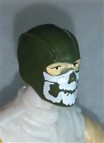 "Male Head: Balaclava GREEN Mask with White ""JAW"" Deco - 1:18 Scale MTF Accessory for 3-3/4"" Action Figures"