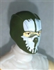 "Male Head: Balaclava GREEN Mask with White ""SPLIT SKULL"" Deco - 1:18 Scale MTF Accessory for 3-3/4"" Action Figures"