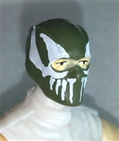 "Male Head: Balaclava GREEN Mask with White ""FANG"" Deco - 1:18 Scale MTF Accessory for 3-3/4"" Action Figures"
