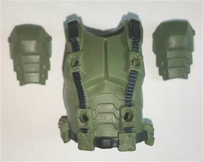 "Male Vest: Armor Type GREEN & Black Version - 1:18 Scale Modular MTF Accessory for 3-3/4"" Action Figures"