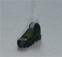 "Footwear: Right Black Boot with Green Armor - 1:18 Scale MTF Accessory for 3-3/4"" Action Figures"