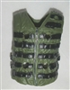 "Male Vest: Tactical Type GREEN & Black Version - 1:18 Scale Modular MTF Accessory for 3-3/4"" Action Figures"
