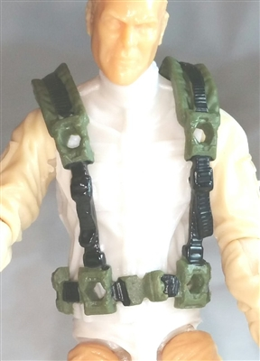 "Male Vest: Harness Rig GREEN with Black Version - 1:18 Scale Modular MTF Accessory for 3-3/4"" Action Figures"