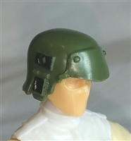 "Headgear: Armor Helmet GREEN & Black Version - 1:18 Scale Modular MTF Accessory for 3-3/4"" Action Figures"