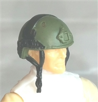 "Headgear: Half-Shell Helmet GREEN & Black Version - 1:18 Scale Modular MTF Accessory for 3-3/4"" Action Figures"